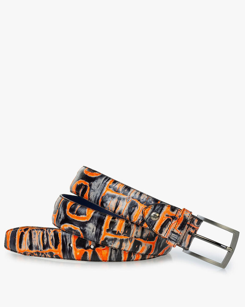 Belt orange croco print