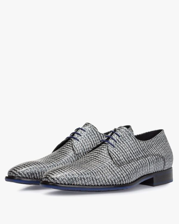 Lace shoe metallic with print grey