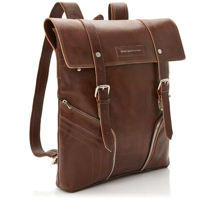 Floris van Bommel brown leather backpack