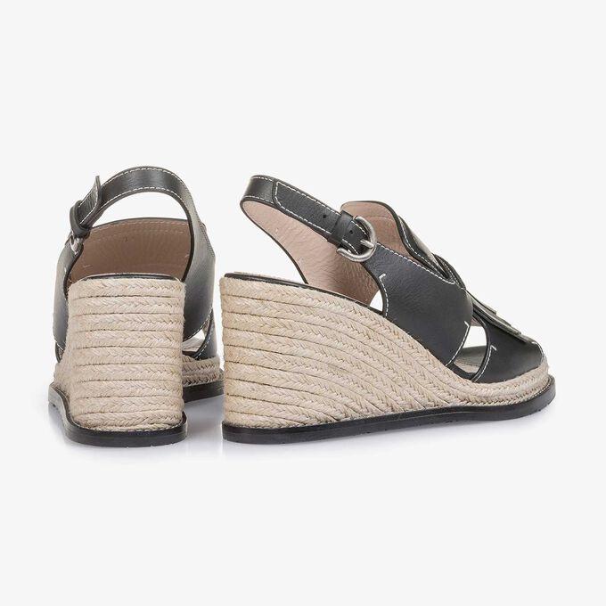 Black espadrille wedge-heel sandal