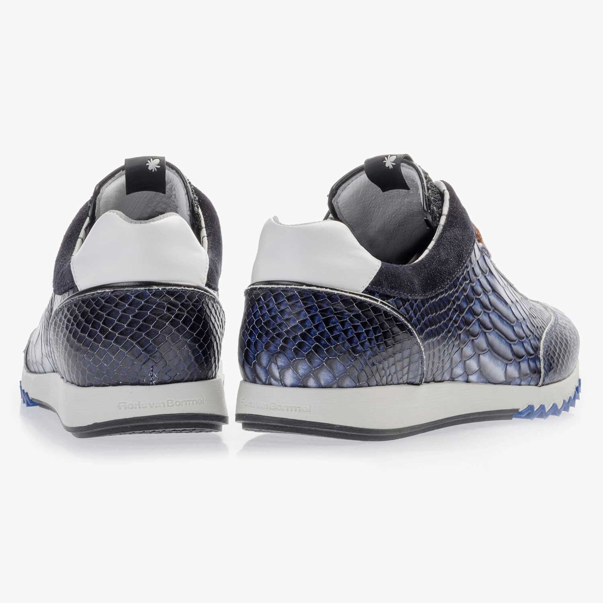 Dark blue calf's leather sneaker with a snake print