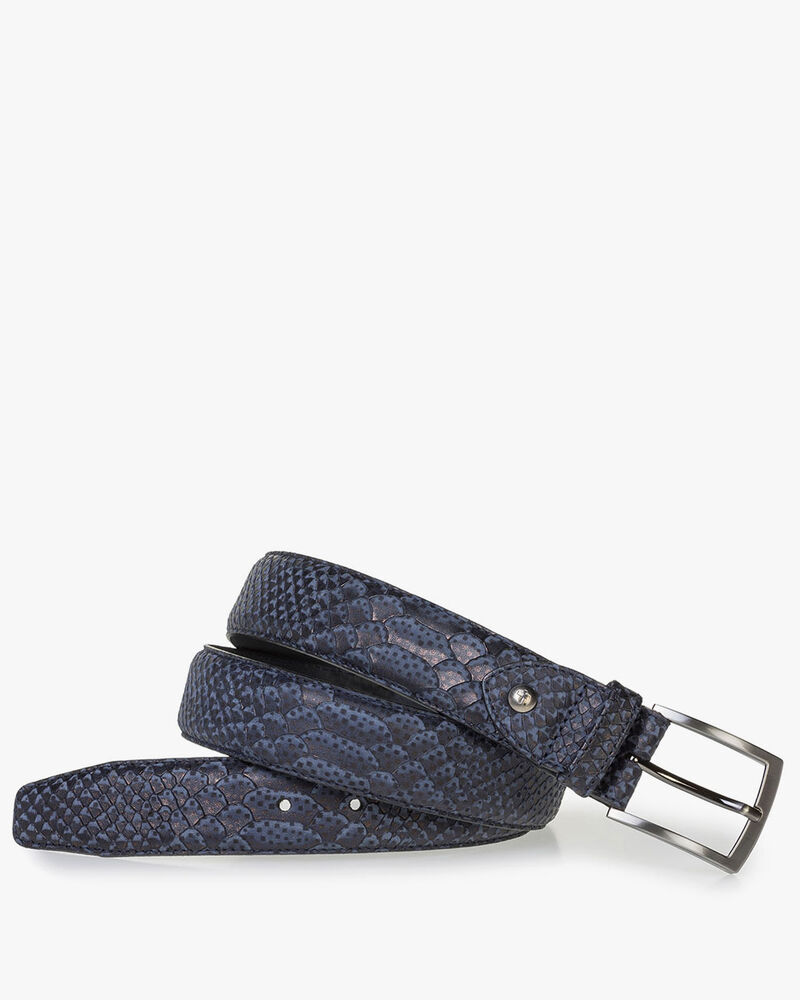Dark blue belt with snake print