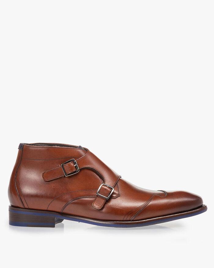 Buckle shoe calf leather cognac