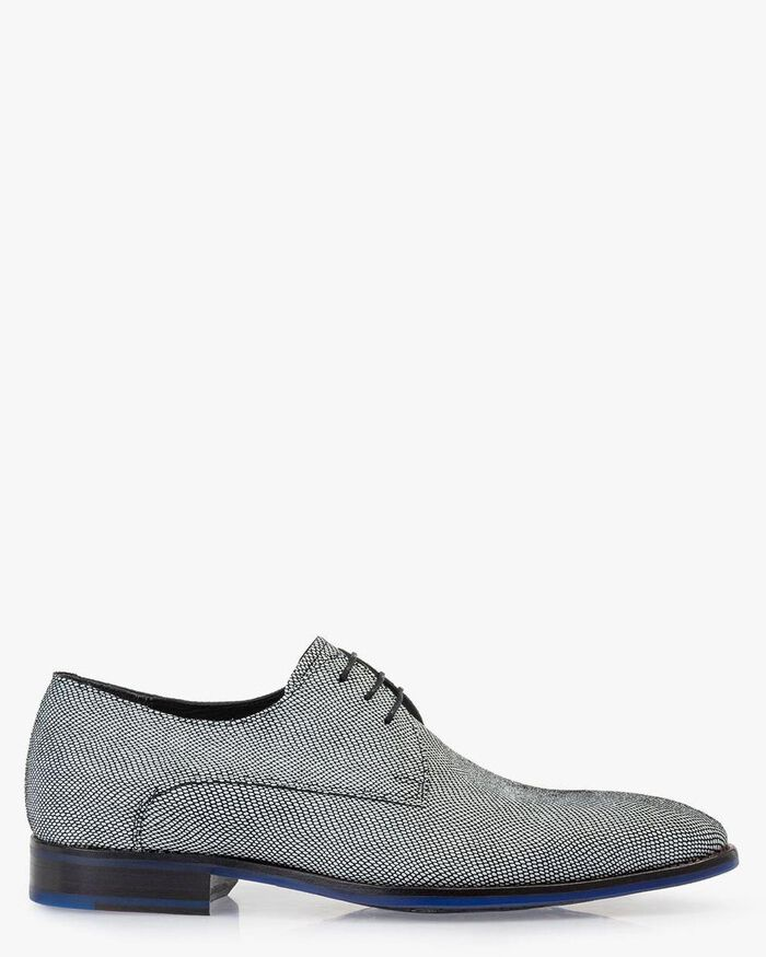 Lace shoe printed suede leather white