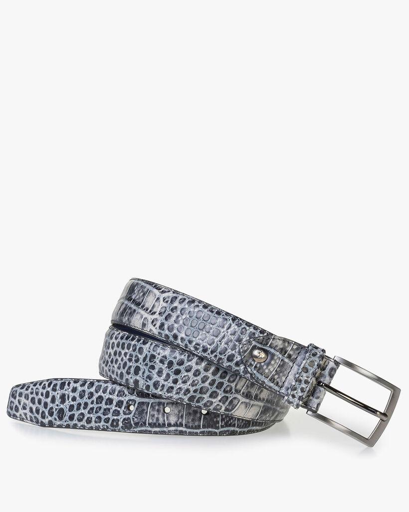 Black leather belt croco print