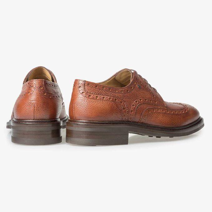Cognac-coloured leather brogue lace shoe