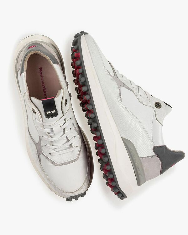 White and grey leather sneaker with print