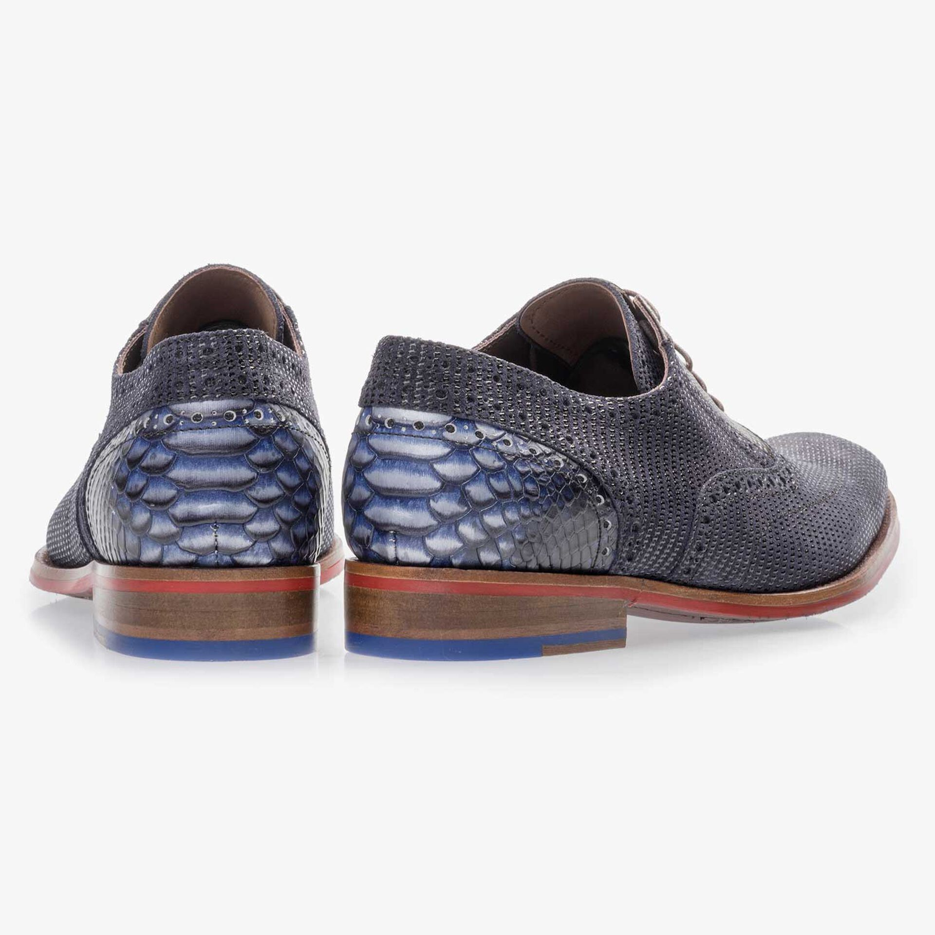Dark blue, patterned suede leather lace shoe