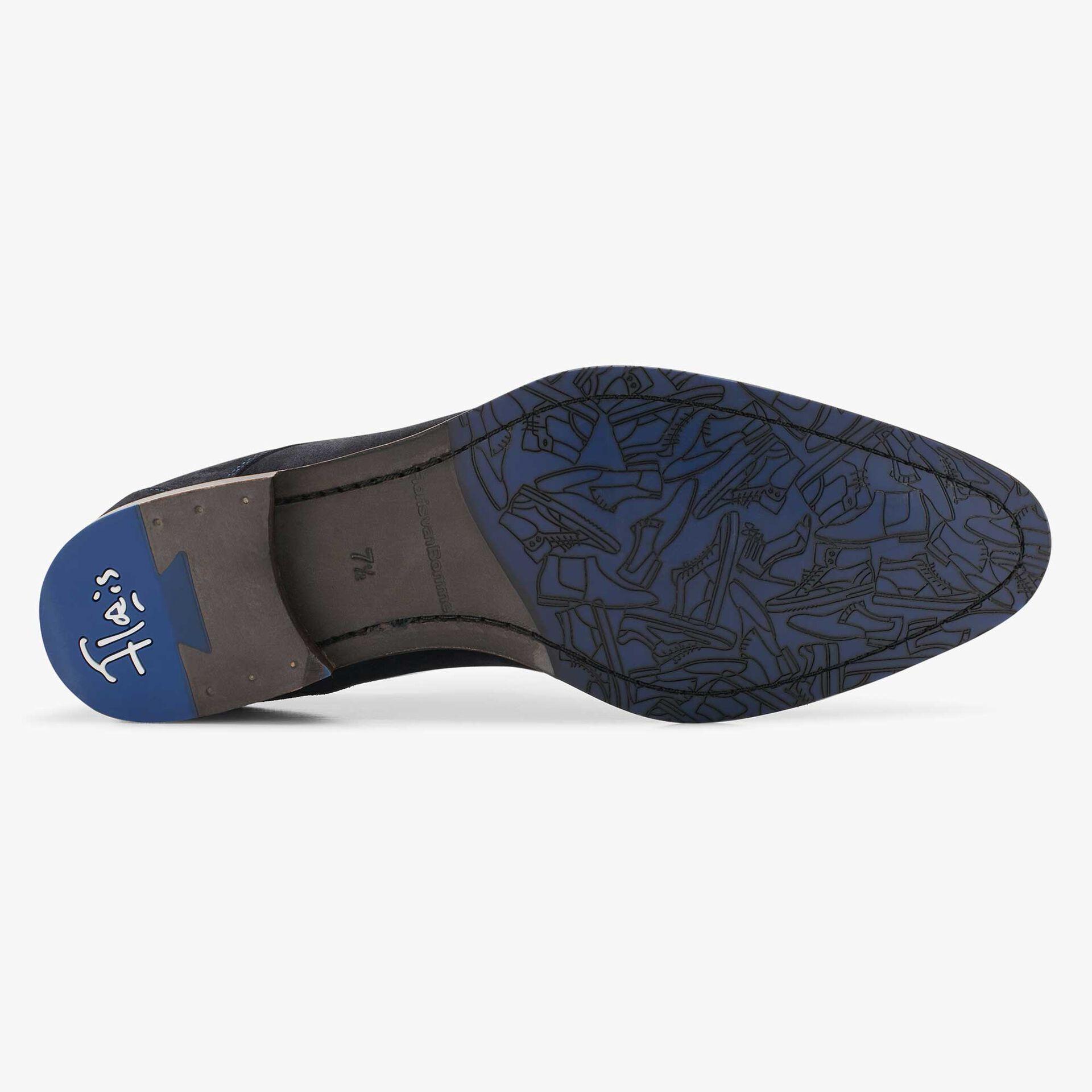 Floris van Bommel blue men's suede lace shoe