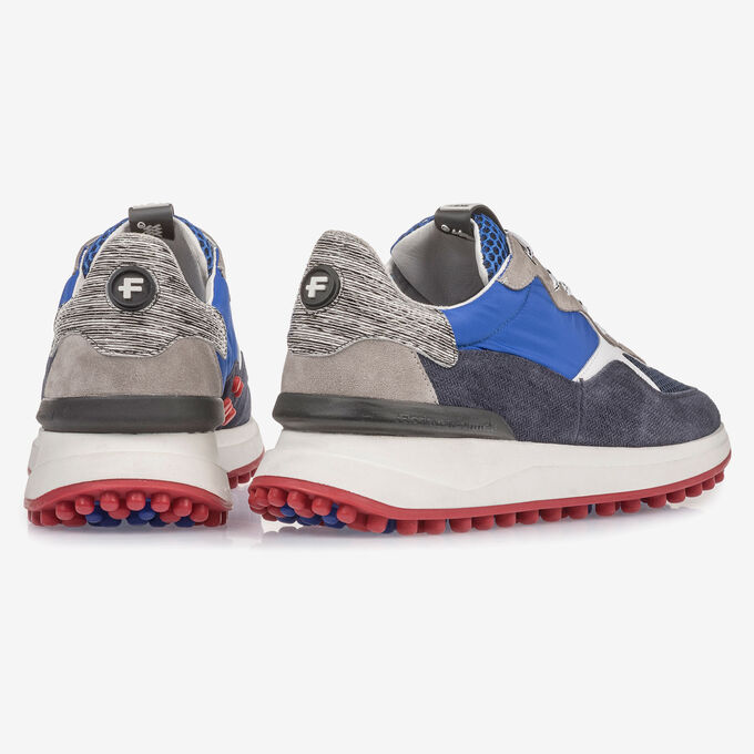 Dark blue suede leather sneaker with grey details