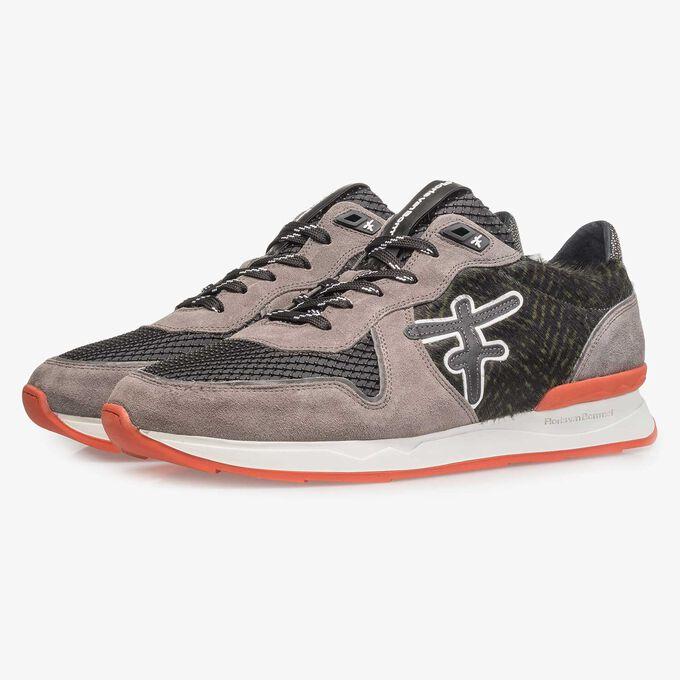 Premium grey suede leather sneaker