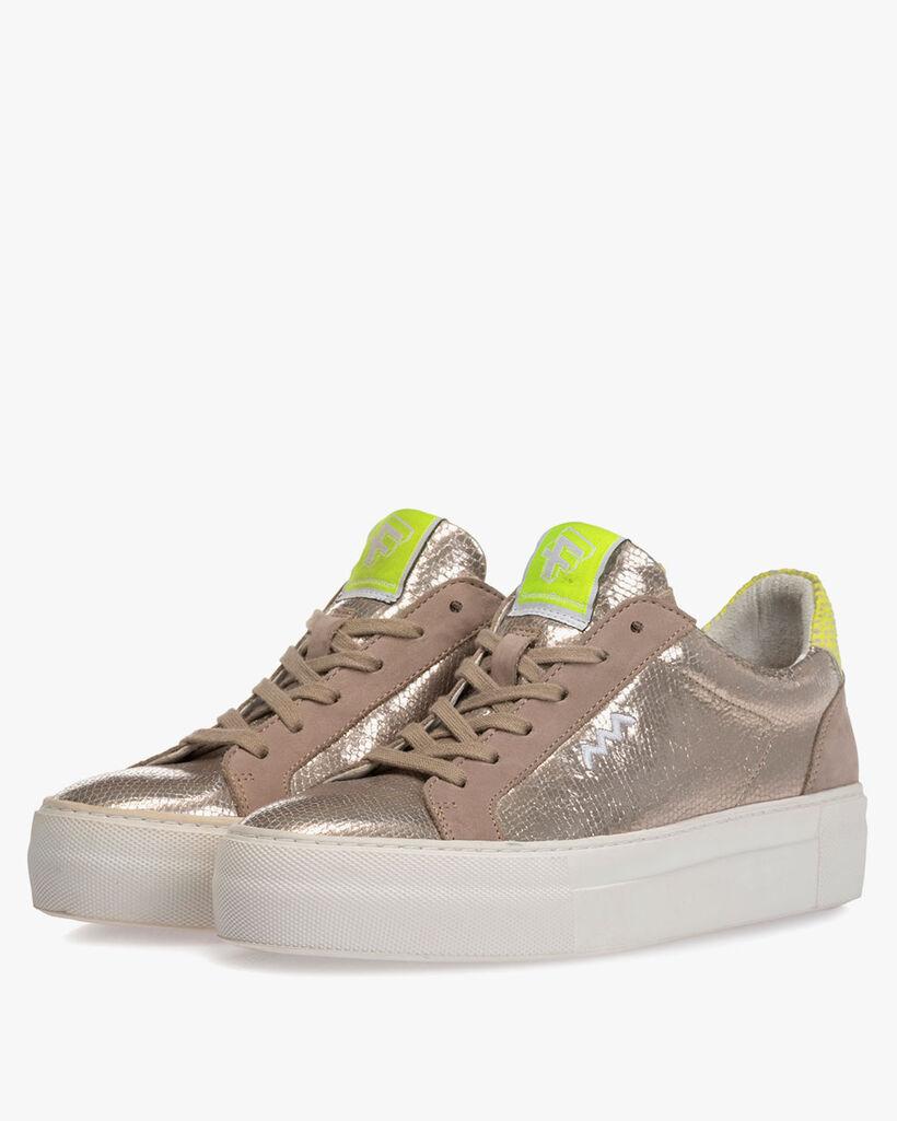 Sneaker metallic print taupe