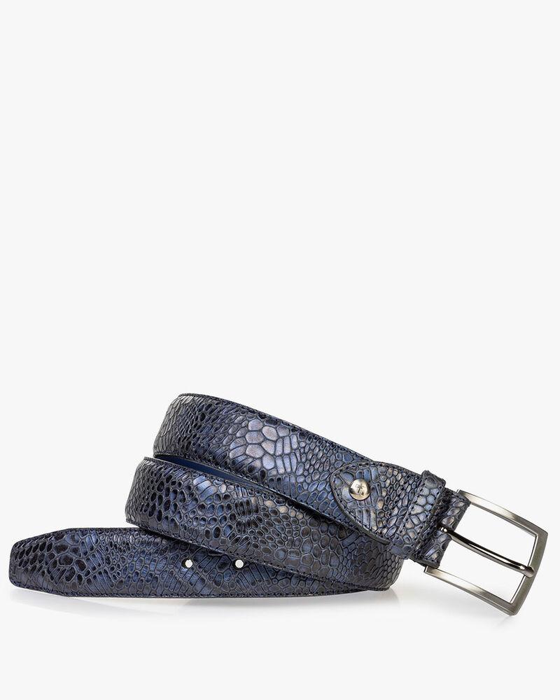 Leather belt metallic blue