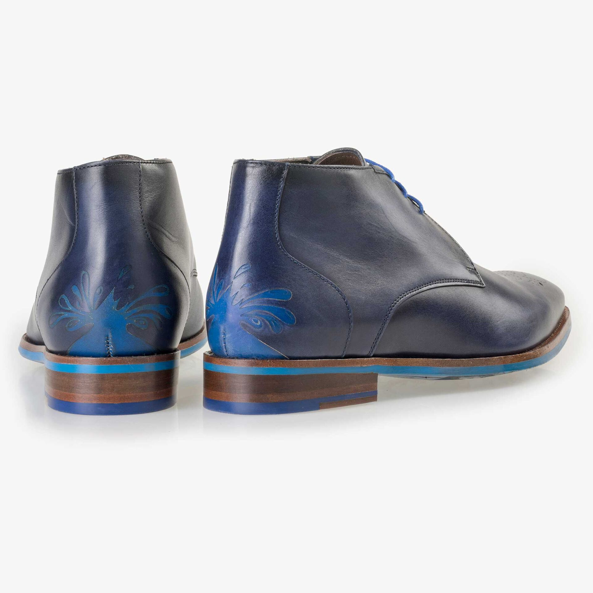 Floris van Bommel men's blue leather lace boot