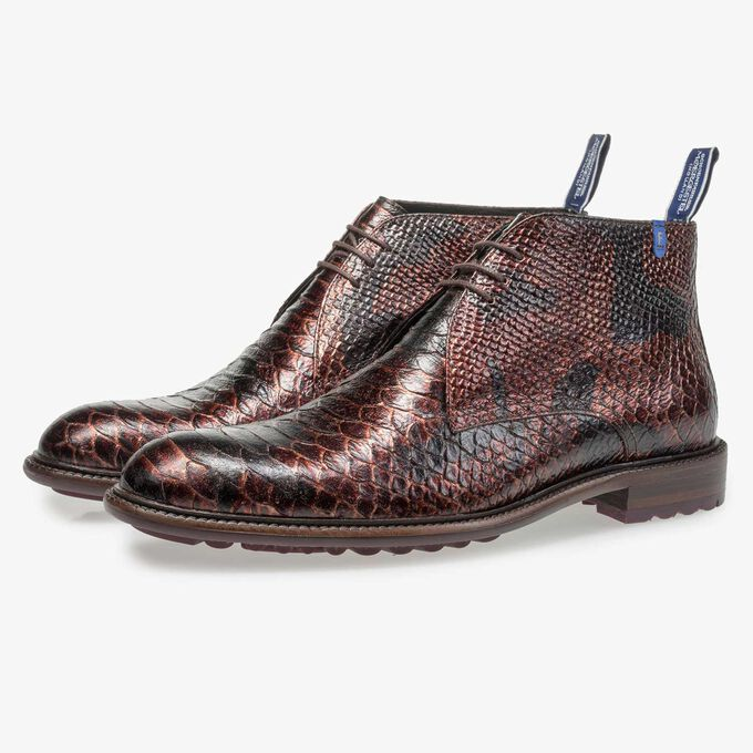 Red-brown lace boot with snake print