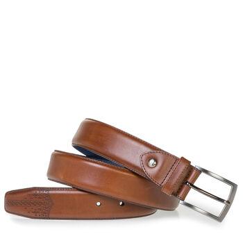 Dark cognac calf leather belt