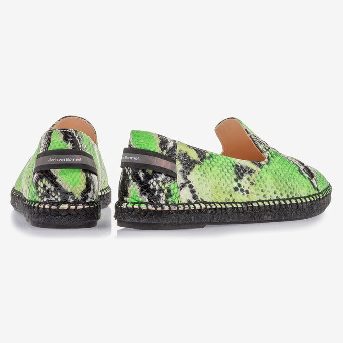 Fluorescent green espadrilles with snake print