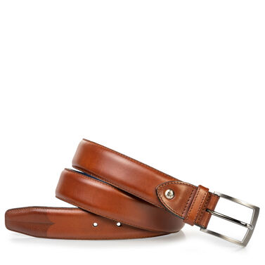 Leather belt with laser-cut print