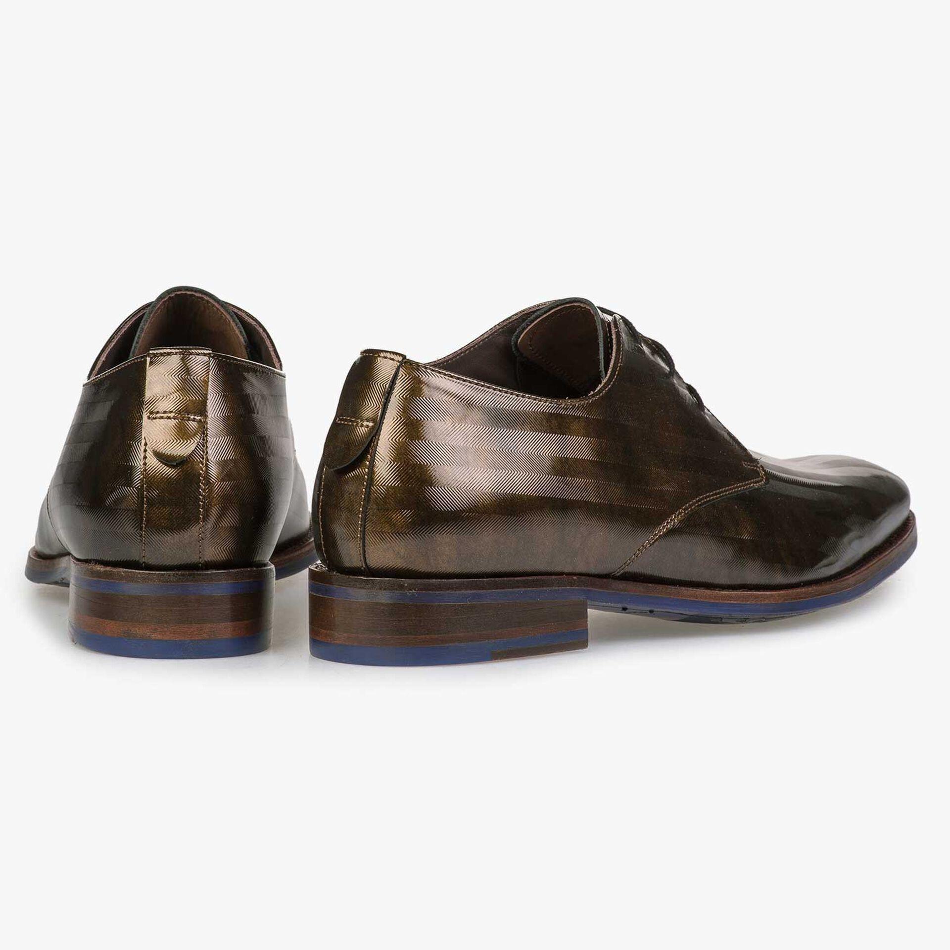 Bronze-coloured Premium patent leather lace shoe