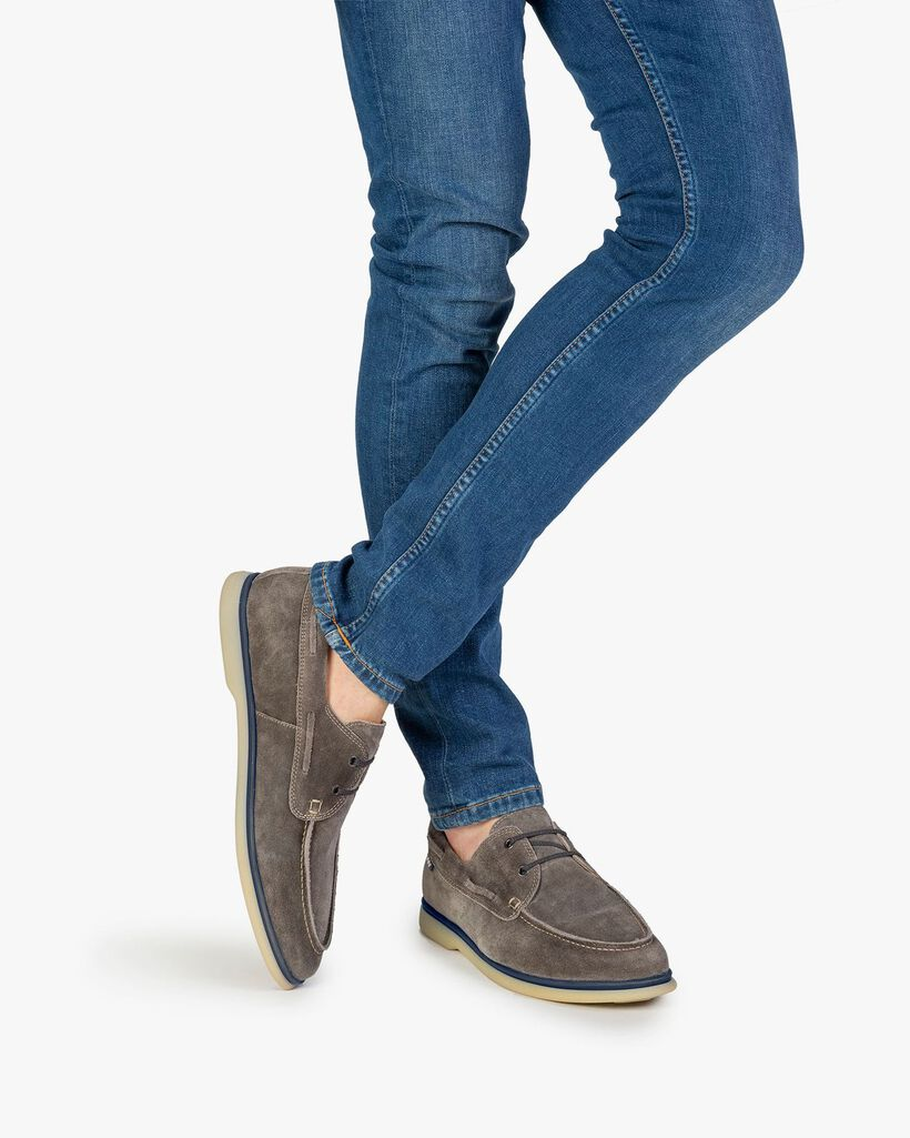 Boat shoe suede leather dark grey