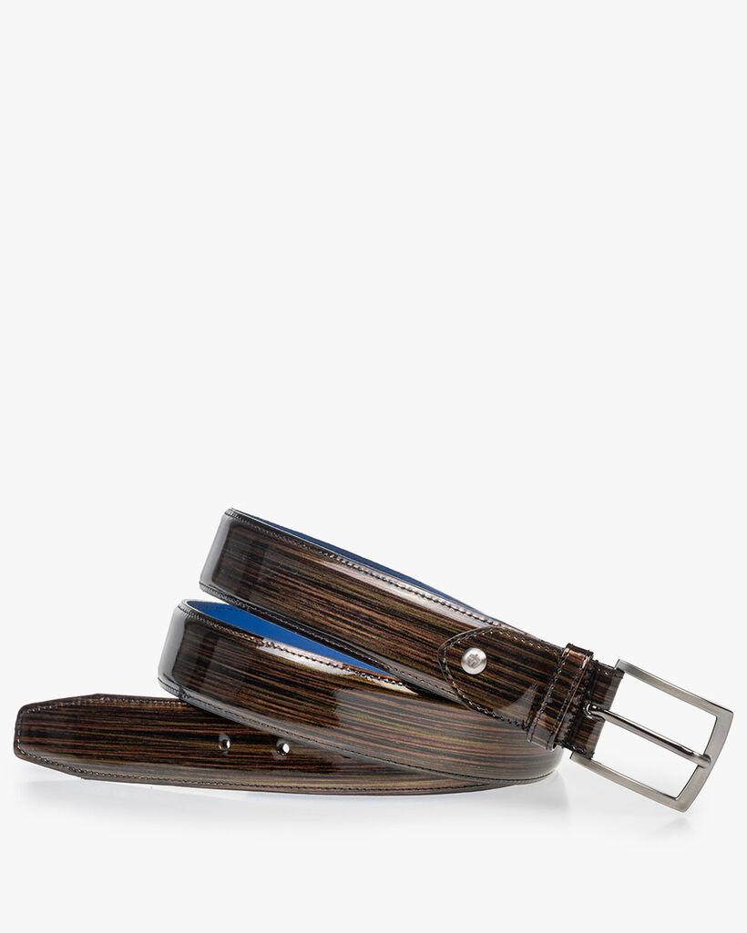 Belt bronze patent leather
