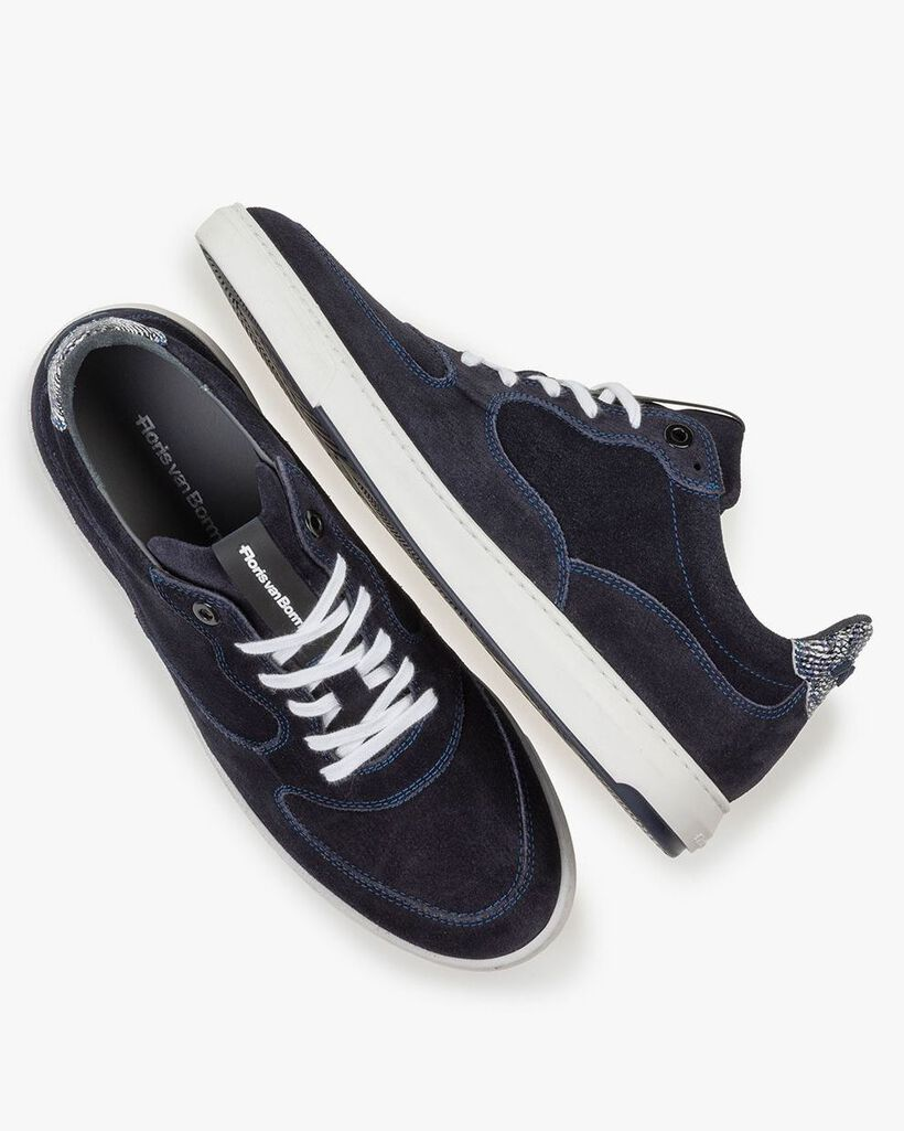 Sneaker printed suede leather blue