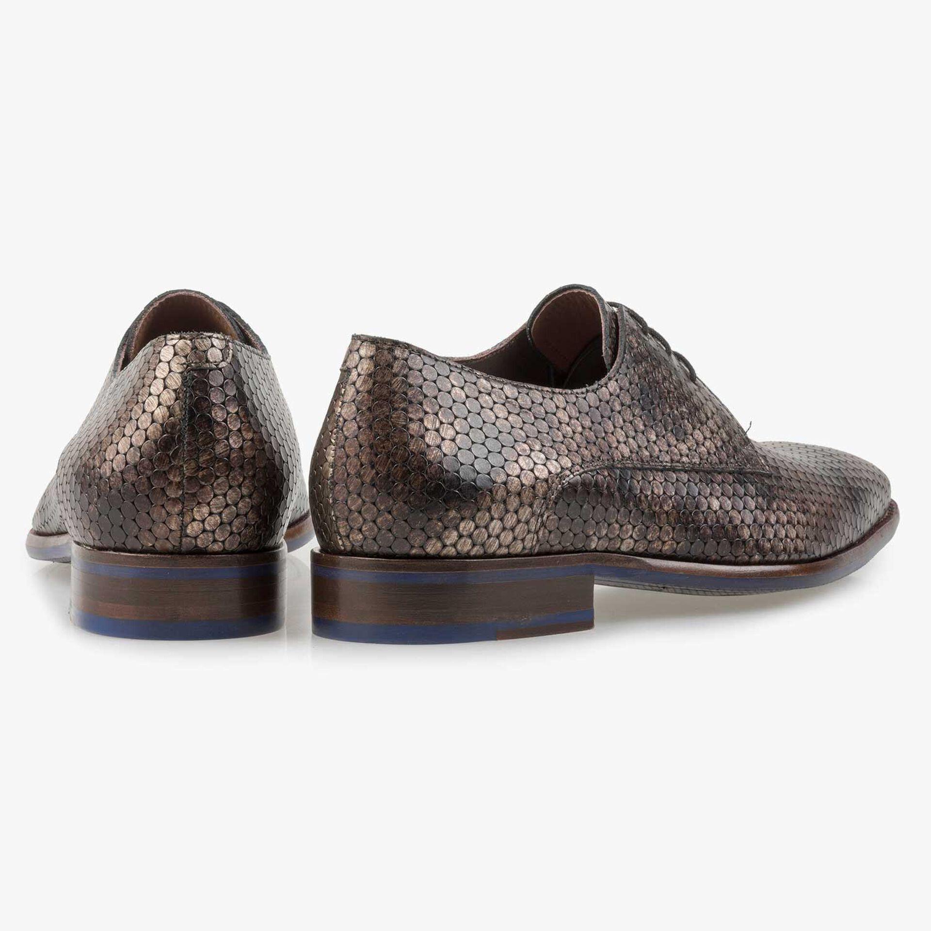 Brown metallic print leather lace shoe