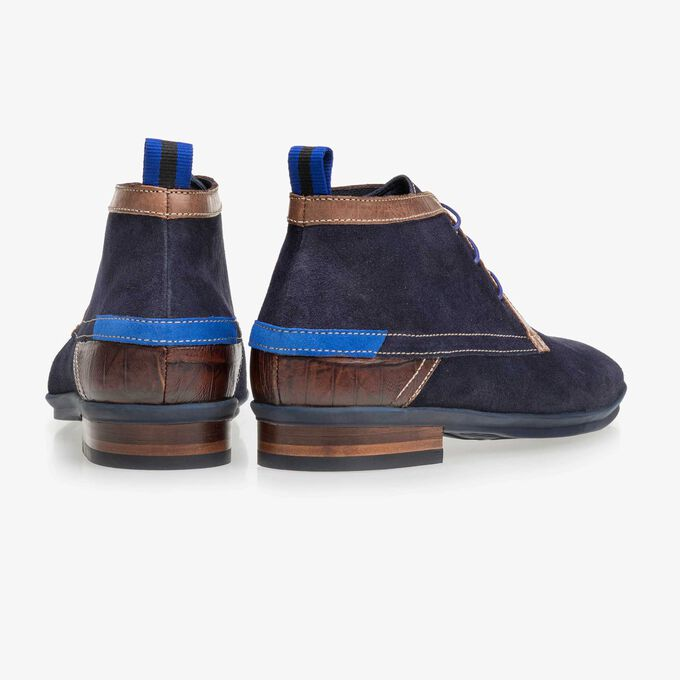 Floris van Bommel dark blue suede men's lace-up boot