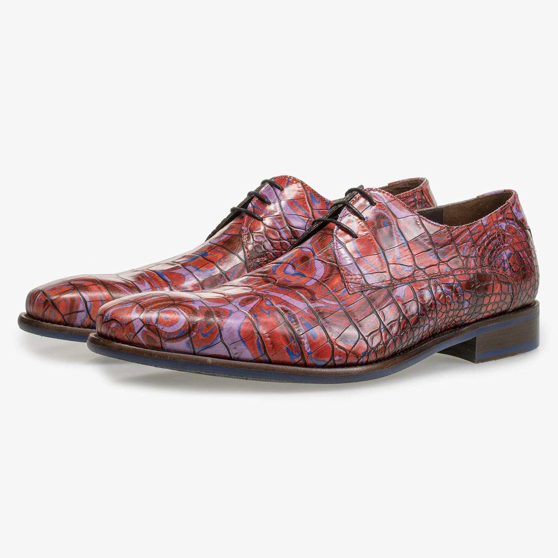 Red Premium croco print lace shoe