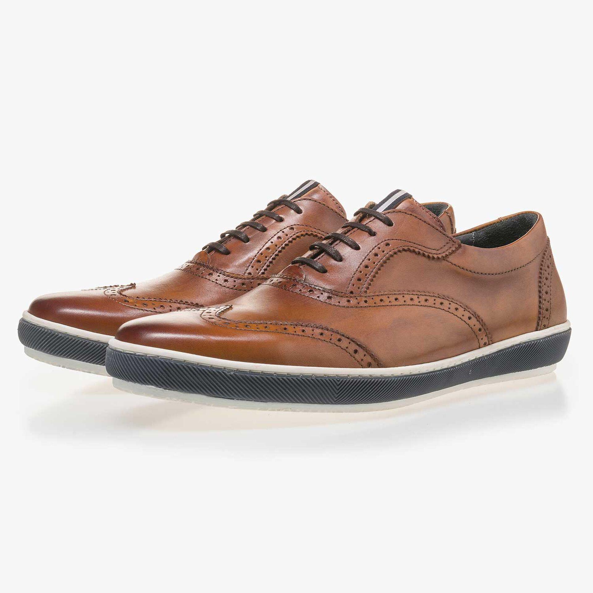 Cognac-coloured calf leather brogue shoe