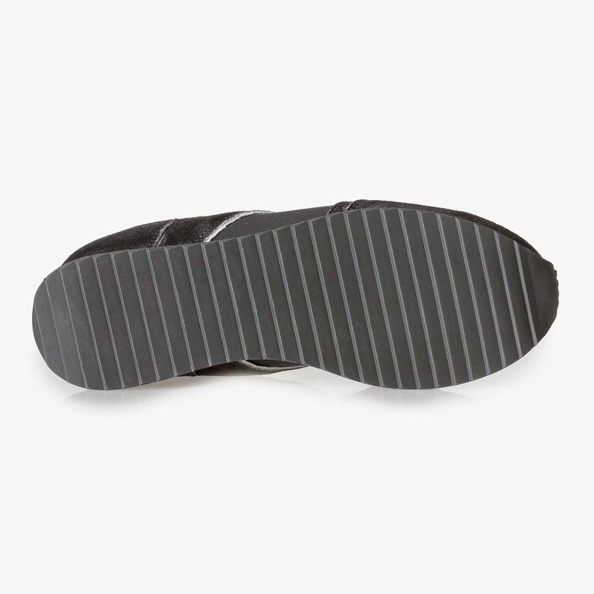 Black suede leather sneaker