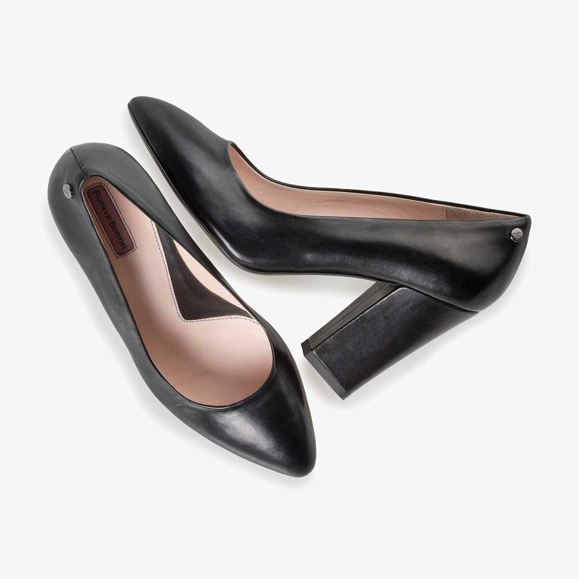 Black calf leather high heels