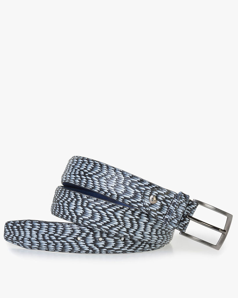 Grey leather belt with print