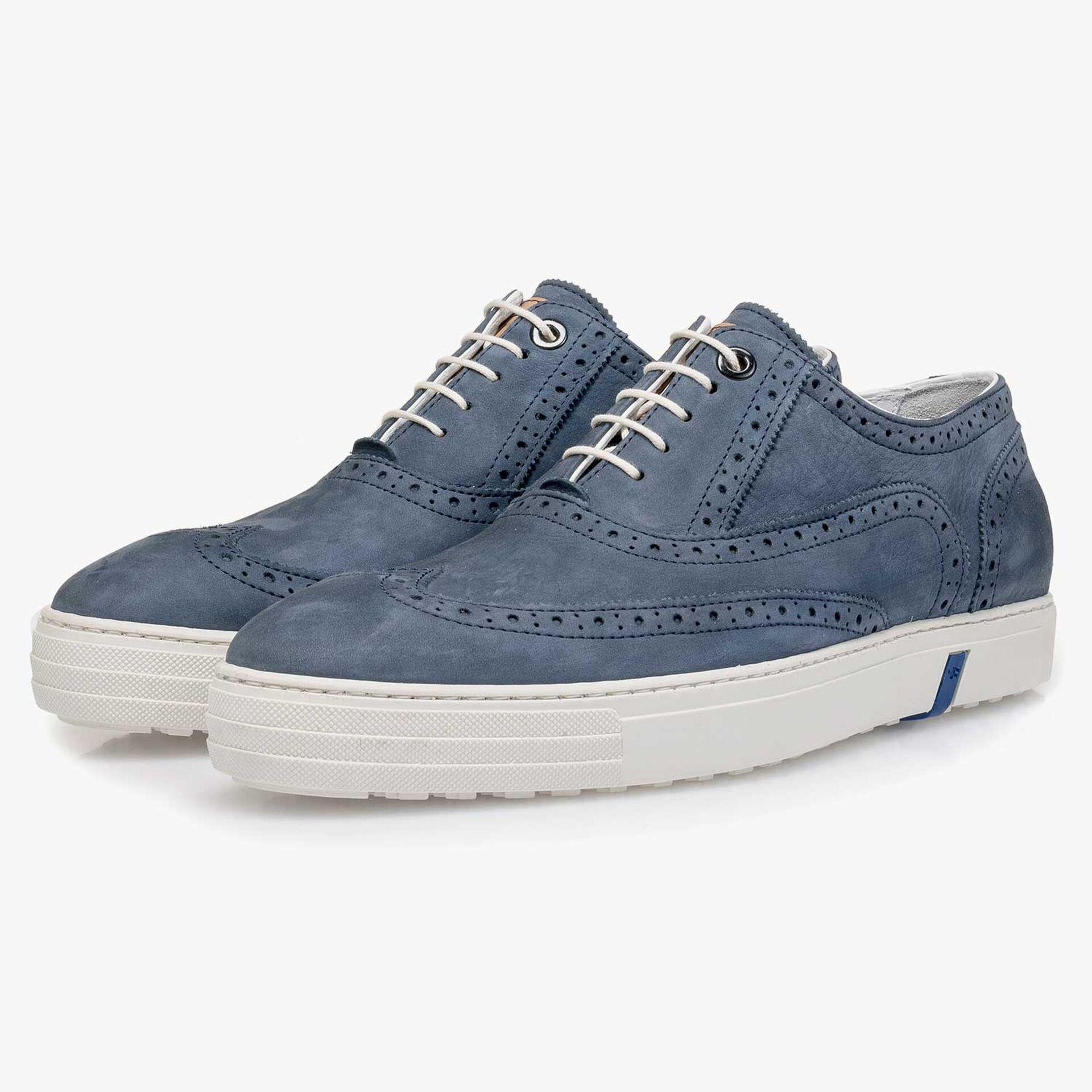 Blue nubuck leather brogue shoe