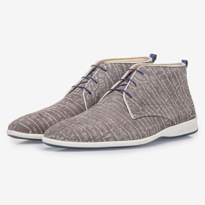 Dark grey lace boot with croco print