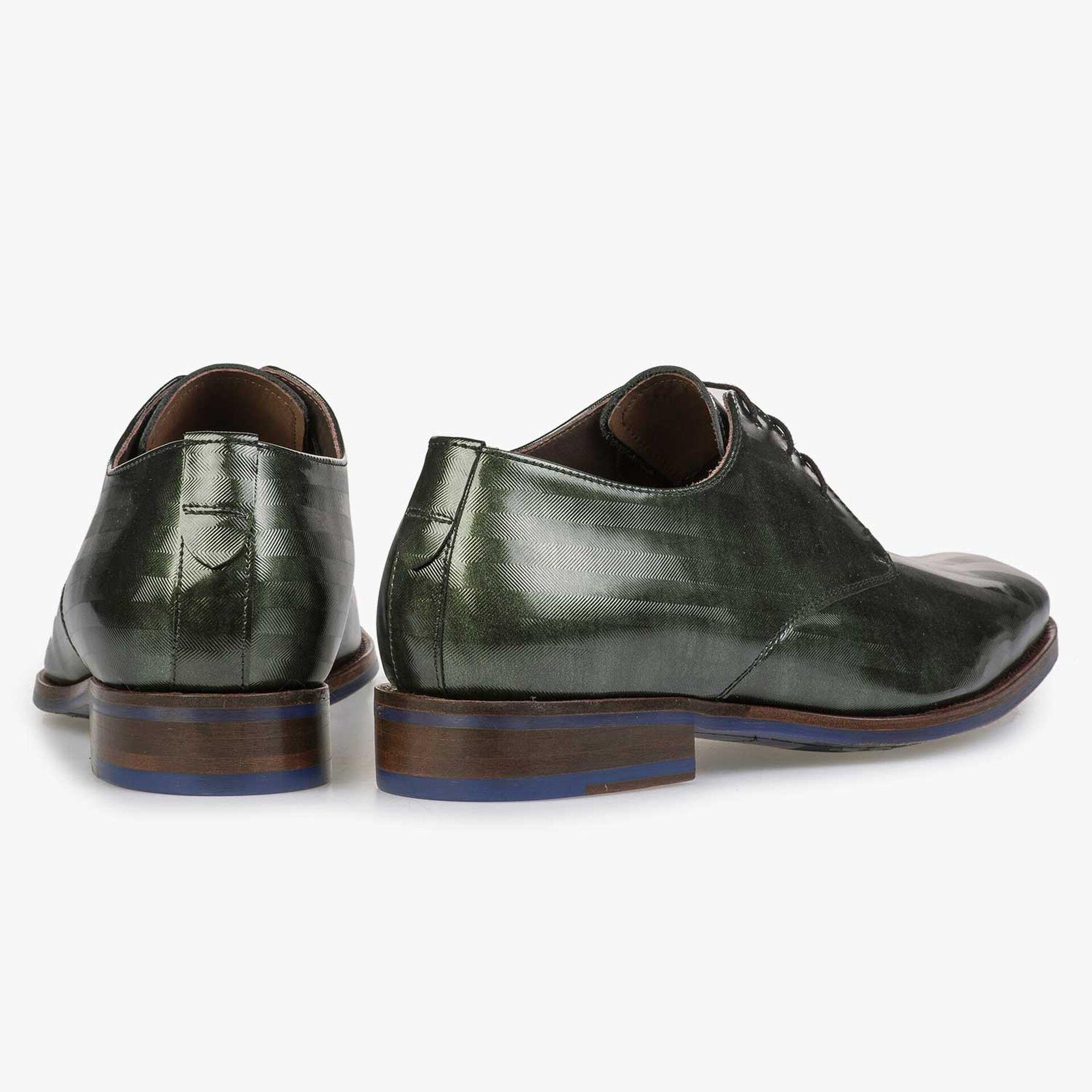 Green Premium patent leather lace shoe