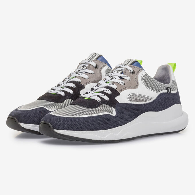 Blue and grey suede leather sneaker