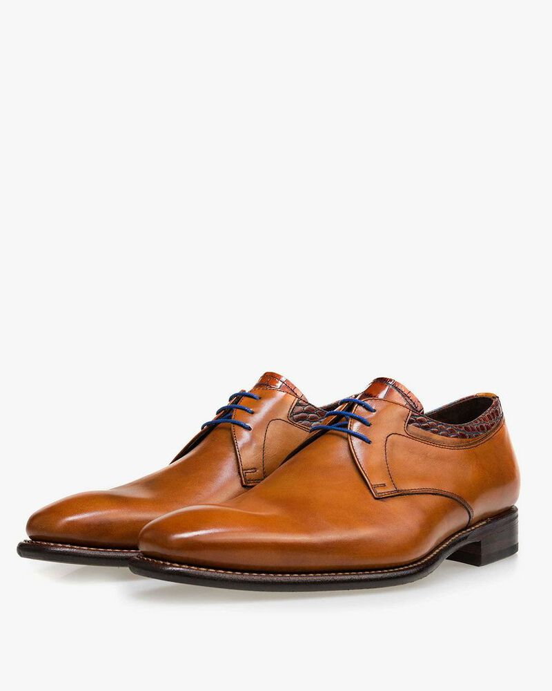 Floris van Bommel cognac leather men's lace-up shoe