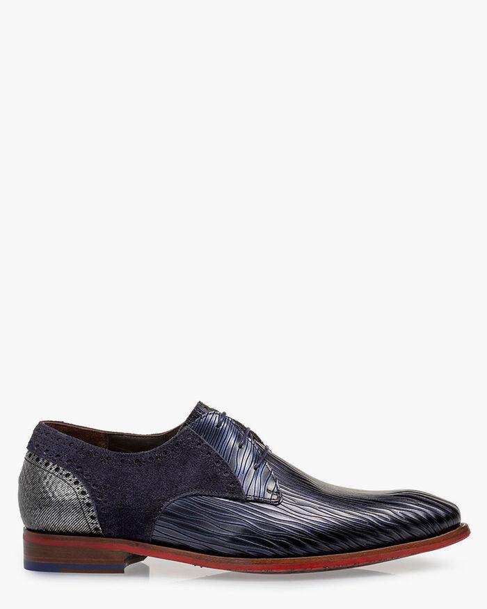 Lace shoe metallic print dark blue