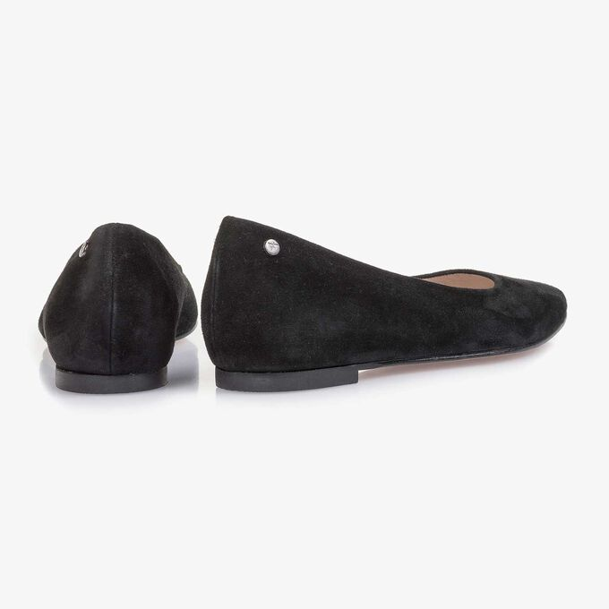 Black suede leather ballerina