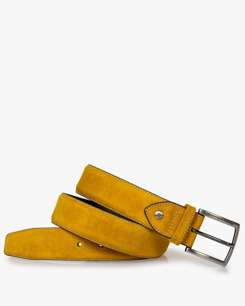 Belt yellow suede leather