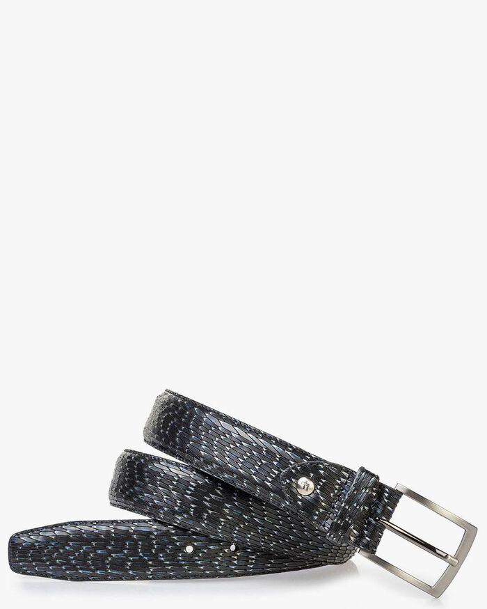 Leather belt metallic green