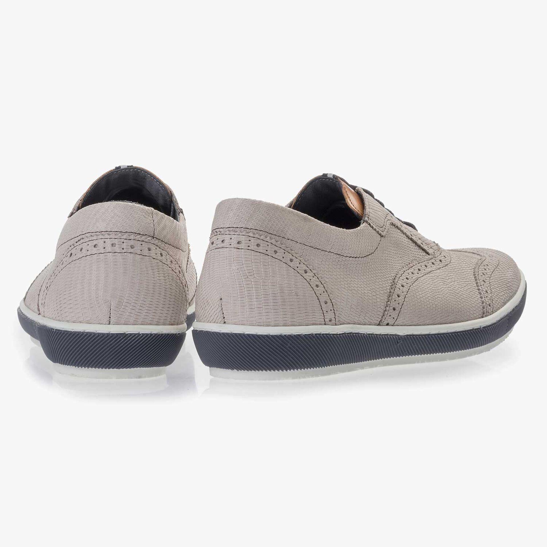 White nubuck leather brogue sneaker