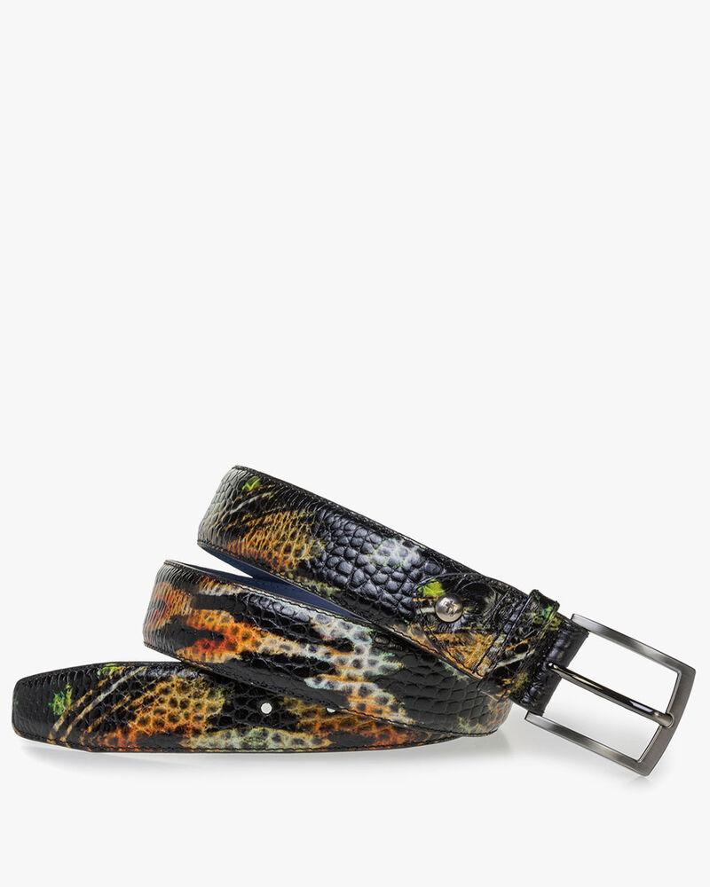 Premium orange and yellow leather belt