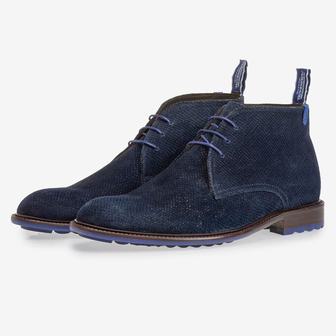 Boot dark blue with print