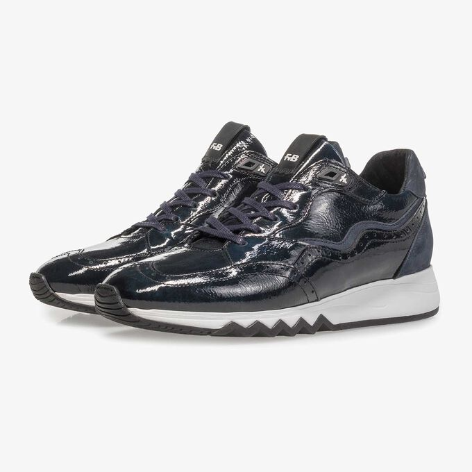 Blue patent leather sneaker