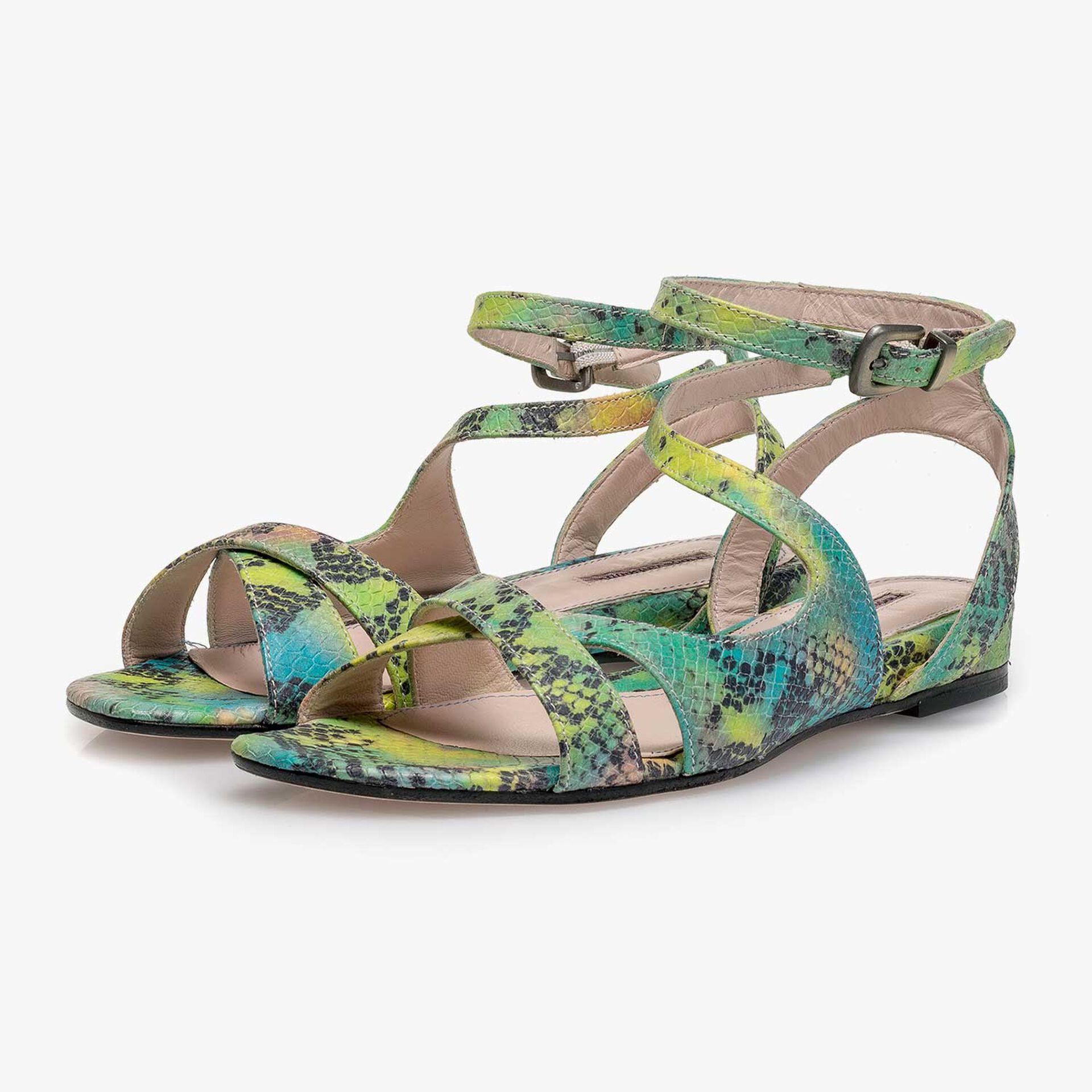 Green snake print leather sandal