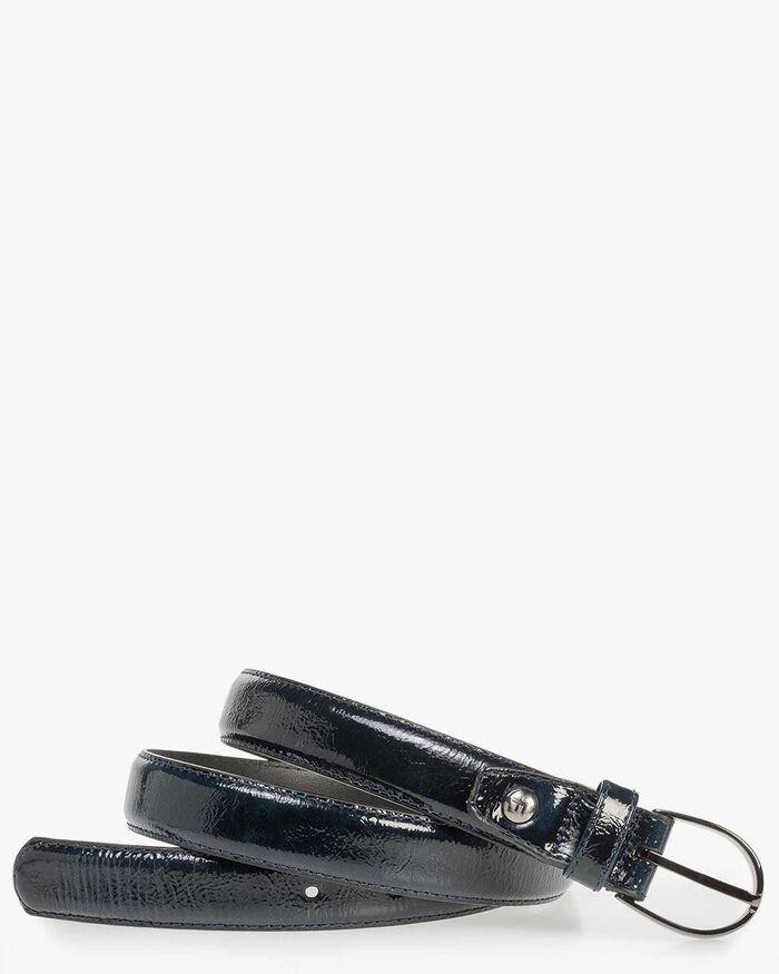 Blue patent leather belt