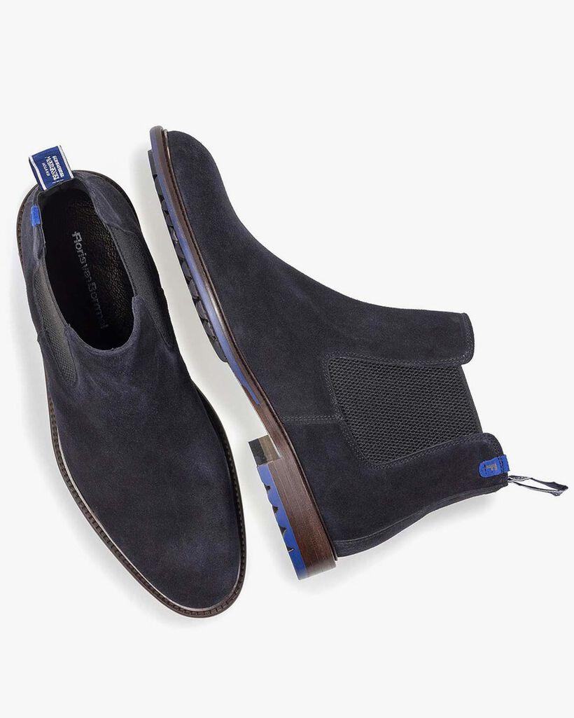 Dark blue calf suede Chelsea boot