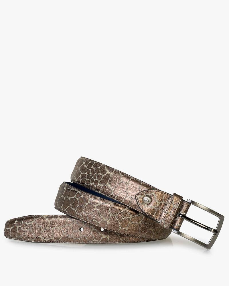 Belt metallic print bronze-coloured
